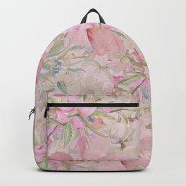 Modern Pastel Pink Watercolor Chic Floral Backpack