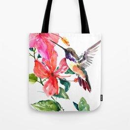 Hummingbird and Hibiscus, tropical Hibiscus design Tote Bag