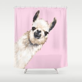 Sneaky Llama in Pink Shower Curtain