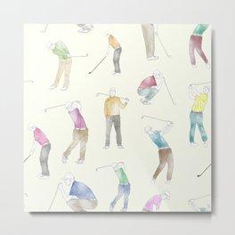 Watercolor Golfers // Ivory Metal Print