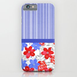 Patriotic Stripes, Red, White & Blue Flowers iPhone Case