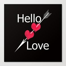 Hello love! Black background . Canvas Print