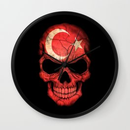 Dark Skull with Flag of Turkey Wall Clock