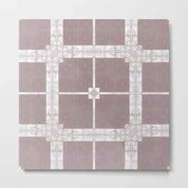 Tiled Mauve and White Marble Design Metal Print
