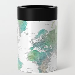 Watercolor world map in muted green and brown Can Cooler