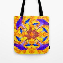Purple & Gold Floral Design Tote Bag