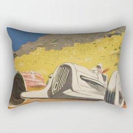 Vintage 1934 White Deco Monaco Grand Prix Car Advertisement Poster by Geo Ham Rectangular Pillow