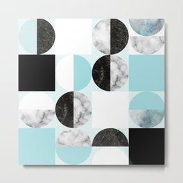 Mid Modern Moon and Sun Geometric Pattern - blue Metal Print