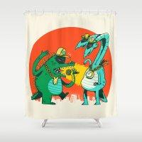 kaiju Shower Curtains featuring Kaiju Rap Battle by Morkki