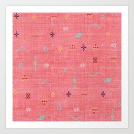 Cactus Silk Pattern in Pink Art Print