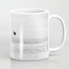 """Lonely Beach Bird"" in Black and White - Holga Photograph Coffee Mug"