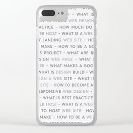 Grey Web Design Keywords Poster Concept Clear iPhone Case