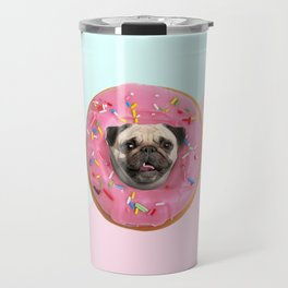 Pug Strawberry Donut Travel Mug