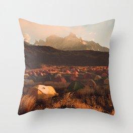 Patagonia Chile Morning Camp Throw Pillow
