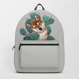 Shiba Inu and Cactus Backpack