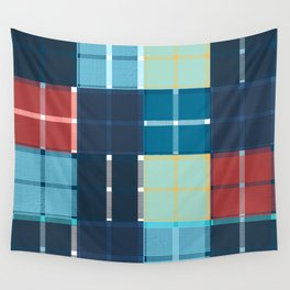 Colored vector design, tartan fabric pattern, blue color Wall Tapestry