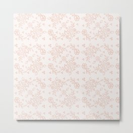 Elegant pink white pastel color chic floral lace Metal Print