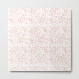 Elegant pink white pastel color chic floral lace Metal Print