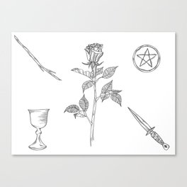 Rose with Tarot Suits / Botanical Line Drawing Canvas Print