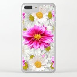 PINK DAHLIAS WHITE DAISIES FLORALS Clear iPhone Case