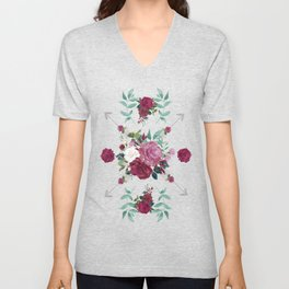 Floral Pattern with Arrows Unisex V-Neck