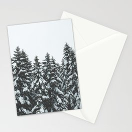 SNOWY TREETOPS Stationery Cards