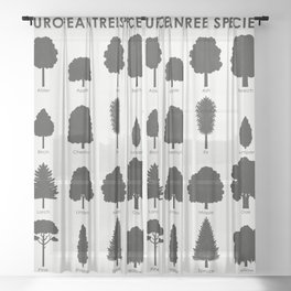 European Tree Species Sheer Curtain