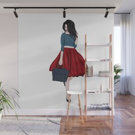 Romantic look, girl in red skirt Wall Mural