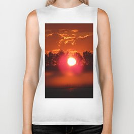 Red Foggy Sunrise Biker Tank