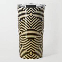 Art deco gold black geometric pattern Travel Mug