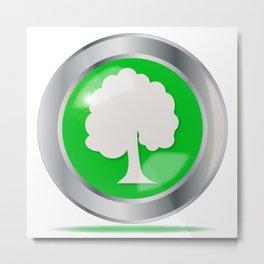 Oak Tree Button Metal Print