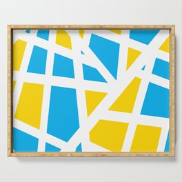 Abstract Interstate  Roadways Aqua Blue & Yellow Color Serving Tray