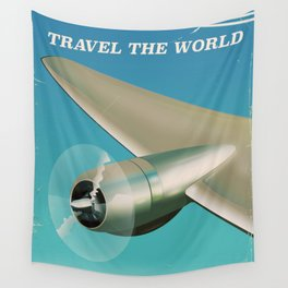 Travel the world - Go by air vintage poster Wall Tapestry