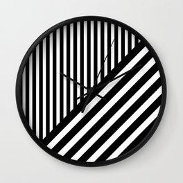 Black and White Diagonal Stripes Wall Clock