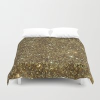 gold glitter Duvet Covers featuring Gold Glitter by NatalieBoBatalie