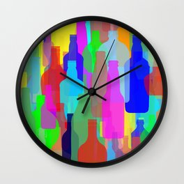 Abstract Colorful Bottles Wall Clock