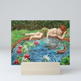Midsummer Daydream painting, woodsprite and fairies at the lily pond Mini Art Print