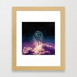 Out of the atmosphere / 3D render of spaceship rising above clouds Framed Art Print