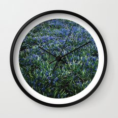 Planetary Bodies - Blue Flowers Wall Clock