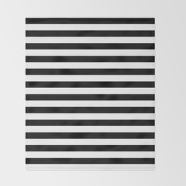 Black and White Horizontal Strips Throw Blanket