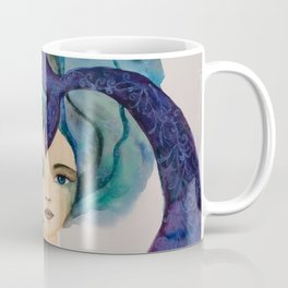 Watercolor Mermaid Blue Green Hair Coffee Mug