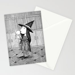 Little Witch Eating Ice Cream Stationery Cards