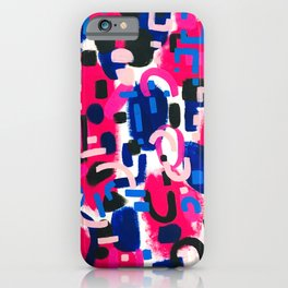 Magenta Blue Abstract Acrylic Painting Kusama Primitive Shapes iPhone Case