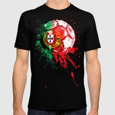 football Portugal  Black Mens Fitted Tee SMALL