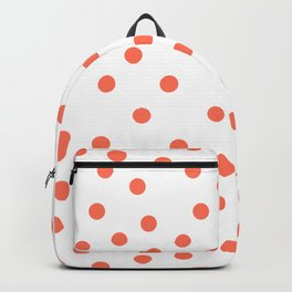 Simply Dots in Deep Coral on White Backpack