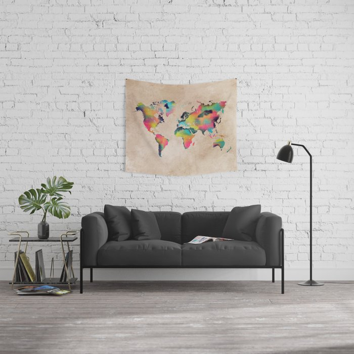 world map 2 Wall Tapestry
