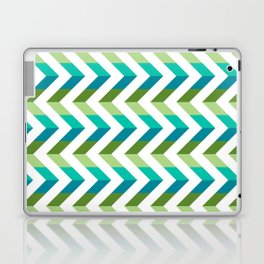 Chevron Picnic Time - Geometric pattern with blue and green Laptop & iPad Skin