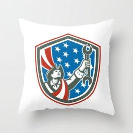 American Patriot Holding Spanner Shield Retro Throw Pillow