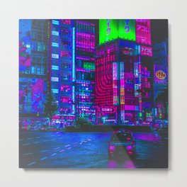 Retro Game VHS Cyberpunk City Metal Print