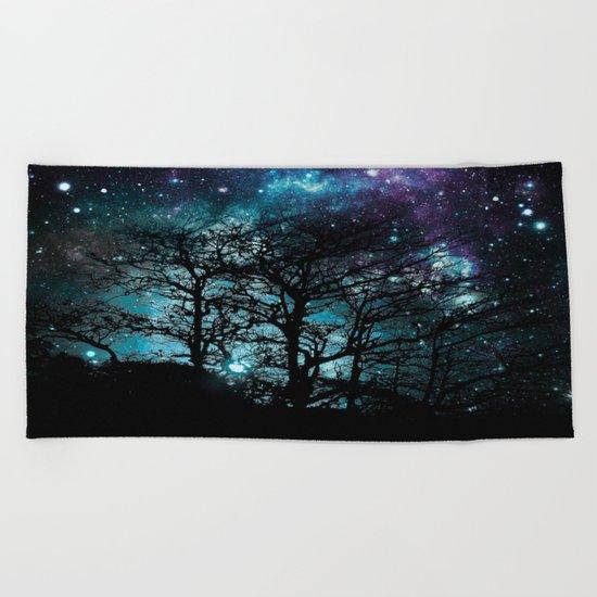 Black Trees Teal Violet space Beach Towel